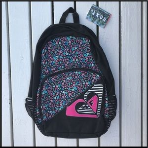 Black And Flower Print Roxy Backpack